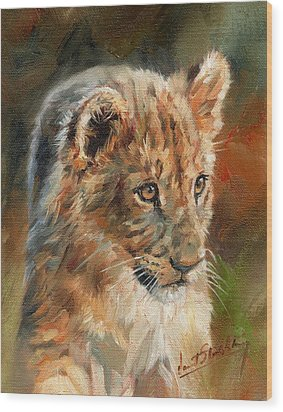 Wood Print featuring the painting Lion Cub Portrait by David Stribbling