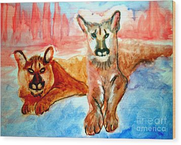 Lion Cubs Of Arizona Wood Print
