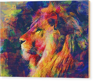 Lion Wood Print by Elena Kosvincheva