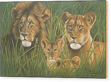 Lion Family Wood Print by Henry  Frison