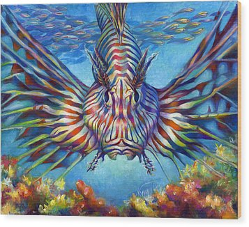 Lion Fish Wood Print by Nancy Tilles