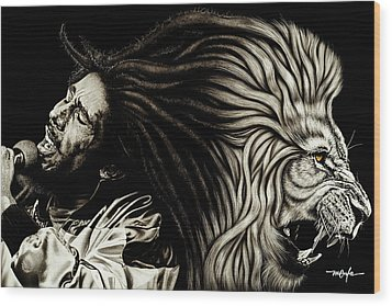 Lion Heart -bob Marley Wood Print