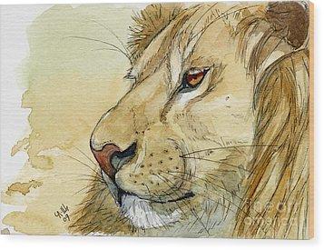 Lion Inspiration  Wood Print by Svetlana Ledneva-Schukina