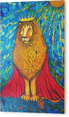 Wood Print featuring the painting Lion-king by Rae Chichilnitsky