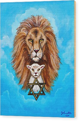 Wood Print featuring the painting Lion Lies Down With A Lamb by Bob and Nadine Johnston