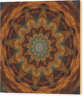 Wood Print featuring the painting Lion Mandala by Shelley Bain