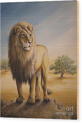 Lion Of Africa Wood Print by Tish Wynne