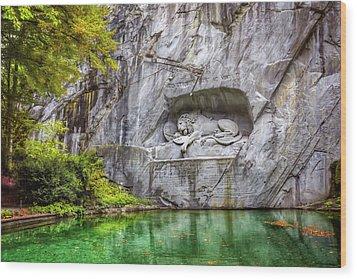 Lion Of Lucerne Wood Print by Carol Japp