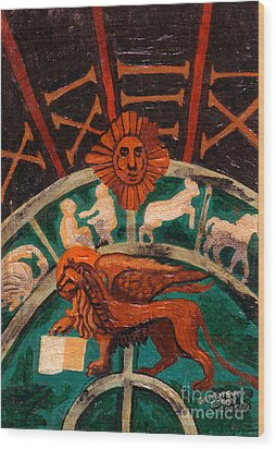 Wood Print featuring the painting Lion Of St. Mark by Genevieve Esson