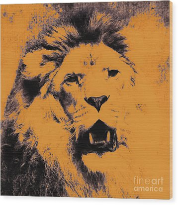 Lion Pop Art Wood Print by Angela Doelling AD DESIGN Photo and PhotoArt