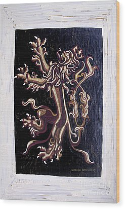 Lion Rampant Wood Print by Genevieve Esson