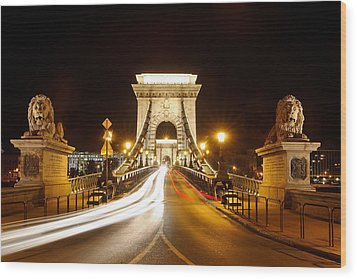 Lion Sculptures Of The Chain Bridge Wood Print by George Oze