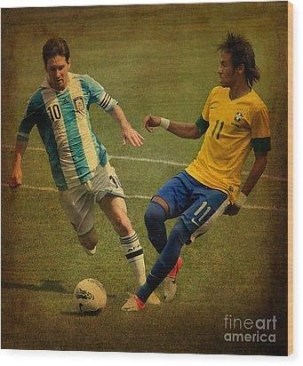 Lionel Messi And Neymar Junior Vintage Photo Wood Print by Lee Dos Santos