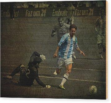Lionel Messi Breaking Raphael Cabrals Ankles  Wood Print by Lee Dos Santos
