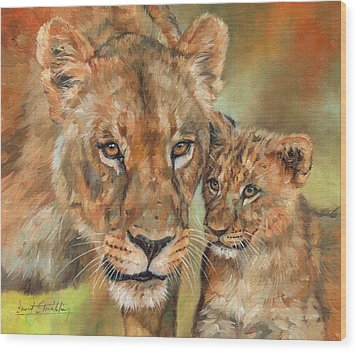 Wood Print featuring the painting Lioness And Cub by David Stribbling