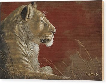 Lioness In The Shade Wood Print by Kathie Miller