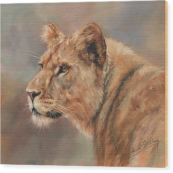 Wood Print featuring the painting Lioness Portrait by David Stribbling