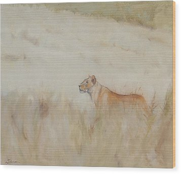 Lioness - Scent Ahead Wood Print by Ron Wilson