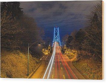 Lions Gate Bridge Light Trails Wood Print by David Gn