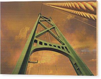 Lions Gate Bridge Tower Wood Print by David Gn