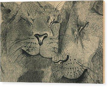 Lions In Love Wood Print by Ramneek Narang