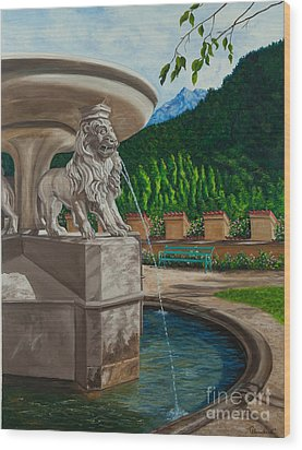 Lions Of Bavaria Wood Print by Charlotte Blanchard