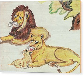 Lions Of The Tree Wood Print