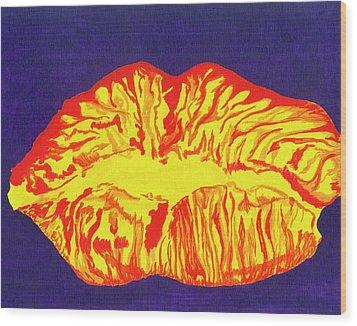 Lips Wood Print by Rishanna Finney