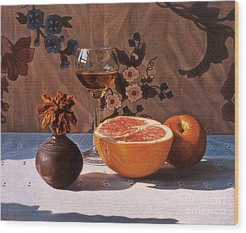 Liqueur Glass And Grapefruit Wood Print by Daniel Montoya