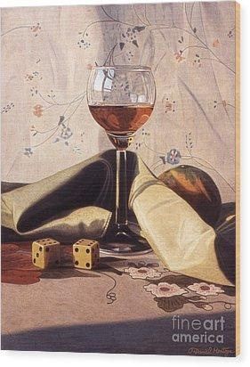 Liqueur Glass And Orange Wood Print by Daniel Montoya