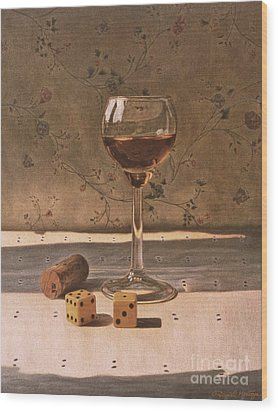 Liqueur Glass And Pair Of Dice Wood Print by Daniel Montoya