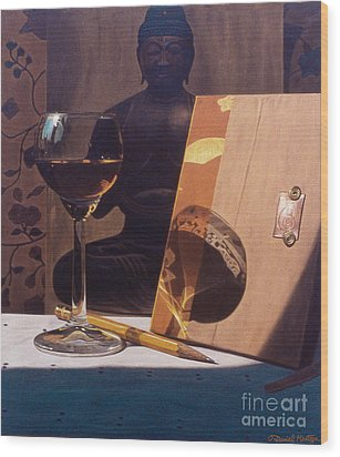 Liqueur Glass And Pencil Wood Print by Daniel Montoya