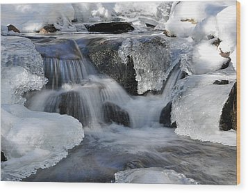 Wood Print featuring the photograph Winter Waterfall In Maine by Glenn Gordon