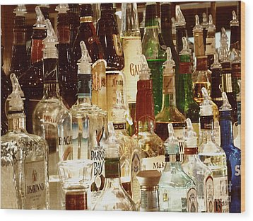 Liquor Bottles Wood Print by Methune Hively
