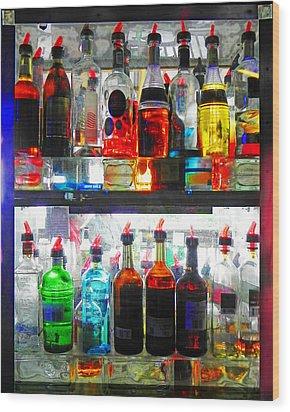 Liquor Cabinet Wood Print by Francesa Miller