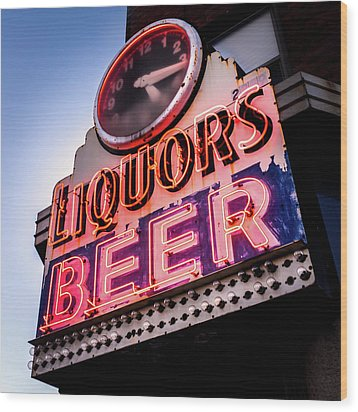 Wood Print featuring the photograph Liquors And Beer On University Ave by Jim Hughes
