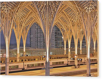 Wood Print featuring the photograph Lisbon Oriente Station by Marek Stepan
