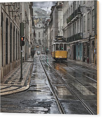 Wood Print featuring the photograph Lisbon Streets by Jorge Maia