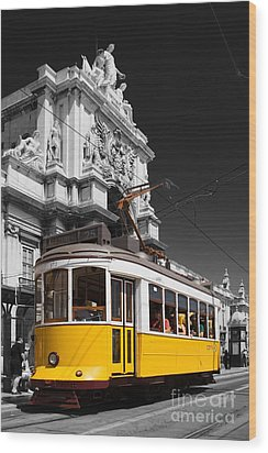 Lisbon's Typical Yellow Tram In Commerce Square Wood Print by Jose Elias - Sofia Pereira