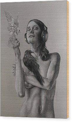 Listen 11 Wood Print by Brent Schreiber