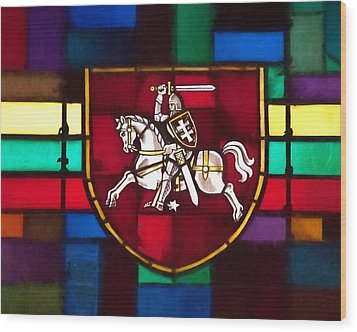 Lithuania Coat Of Arms Wood Print