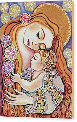 Wood Print featuring the painting Little Angel Sleeping by Eva Campbell
