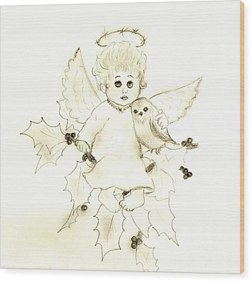 Little Angel Wood Print by Sonya Chalmers