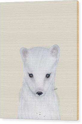 Wood Print featuring the painting Little Arctic Fox by Bri B