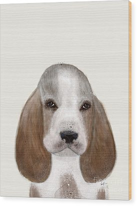 Wood Print featuring the painting Little Basset Hound by Bri B
