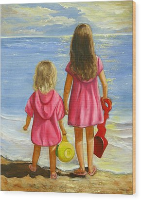 Little Beachcombers Wood Print
