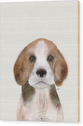 Wood Print featuring the painting Little Beagle by Bri B