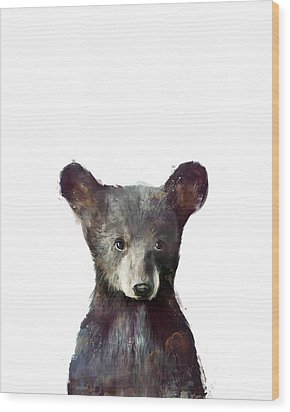 Little Bear Wood Print by Amy Hamilton