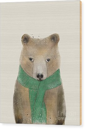Wood Print featuring the painting Little Bear Brown by Bri B