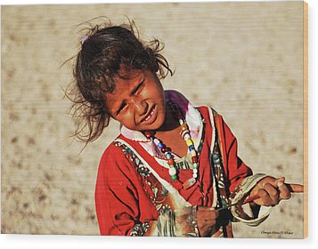 Little Bedouin Girl Wood Print by Chaza Abou El Khair